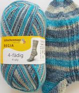 Regia Sockenwolle, 100g, 4-fach, blau-türkis-beige