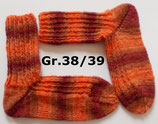 Socken, Gr.38/39,  orange - kastanie