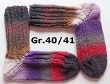 dicke Socken, Gr.40/41, grau-braun-lila-rot