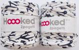 Hoooked Zpagetti Textilgarn, weiß mit Pinguinen