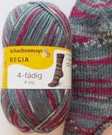 Regia Sockenwolle, 100g, 4-fach, grau-bordeaux gemustert