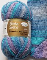 Rellana Sockenwolle, 100g, 4-fach, blau-lila-türkis