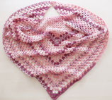 großes gehäkeltes Granny-Square-Tuch, rosa-bordeaux-weiß