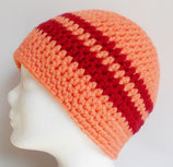 Beanie, apricot + rot