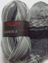 Pro Lana Sockenwolle, 100g, 4-fach,  grau-schwarz gemustert