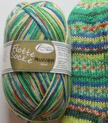 Rellana Sockenwolle, 100g, 4-fach, grün-blau-gelb-orange