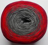 Bobbel Cotton, 4-fädig, rot + grau
