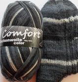 Comfort Sockenwolle, 100g, 4-fach,  grau mit weiß