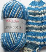 Pro Lana Sockenwolle, 100g, 4-fach,  blau-weiß