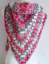 großes Dreieckstuch, reine Baumwolle, rosa + grau + weiß