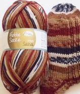 Rellana Sockenwolle, 150g, 6-fach, braun-weiß-schwarz