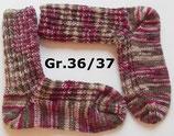 Socken, Gr.36/37, braun-beige-rosa-beere