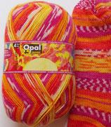 """Opal Sockenwolle """"25 Jahre Opal"""", 100g, 4-fach, orange-pink-gelb"""