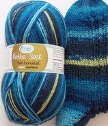 Rellana Sockenwolle, 150g, 6-fach, blau Töne mit etwas pistaziengelb