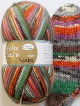 Rellana Sockenwolle, 150g, 6-fach, orange-grün-grau-braun-beere