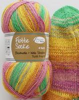 Rellana Sockenwolle, 100g, 4-fach, pink-orange-gelb-grün