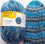 Regia Sockenwolle, 150g, 6-fach, blau Töne mit Schlamm