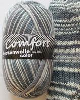 Comfort Sockenwolle, 100g, 4-fach, grau - weiß gemustert