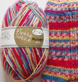 Rellana Sockenwolle, 100g, 4-fach, rot-blau-gelb