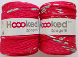 Hoooked Zpagetti Textilgarn, rot mit Blumen