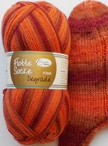 Rellana Sockenwolle, 100g, 4-fach, orange - kastanie