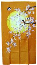 """Noren """"Familles de chouettes contemplant les fleurs de cerisiers"""""""