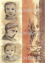 PAPEL ARROZ ÁFRICA RETRATOS Y PAISAJES