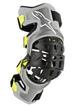 Alpinestars Bionic-7 Knee Brace Set Silver Yellow Fluo