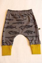 Jerseyhose Fische grau/ gelb