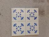 Lot de 4 Anciens Carreaux Carrelages Faience 11cm Bleu et Blanc ( stock environ 150 carreaux )