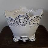 Cache Pot Faience de Desvres finement décoré hauteur 19 cm diamètre 20,5 cm