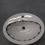 Vasque à encastré ou  à poser Décor Rouen Faience de Desvres Longueur 54 cm Largeur 41 cm hauteur 18 cm
