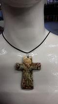 Collier en Faience de Desvres Nouveau ! Numéro 76 Croix Religieuse