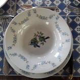 Ménagère 12  pièces Faience de Desvres Décor Oiseau soit 6 assiettes plates et 6 assiettes creuses