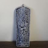 Plaque religieuse Faience de Desvres La Reine et le Roi hauteur 20 cm largeur 6,5 cm