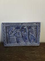 Plaque Religieuse Faience de Desvres longueur 19 cm hauteur 12 ,5 cm