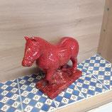 Cheval Boulonnais Faience de Desvres rouge craquele L 27 cm largeur 10 cm Hauteur total 23 cm