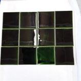 Lot de 12 carreaux Faience de Desvres 10,5cm×10,5 cm Couleur vert réf AB12