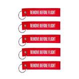 "5 Stück Schlüsselanhänger ""REMOVE BEFORE FLIGHT"" in rot"