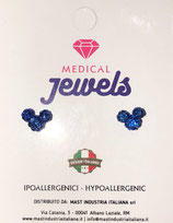 MEDICAL JEWELS ORECCHINI MOUSE BLUE ARGENTO