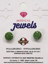 MEDICAL JEWELS ORECCHINI 12 SFERA PERIDOT 8MM