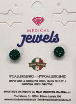 MEDICAL JEWELS ORECCHINI 9 SFERA SMERALDO 6MM
