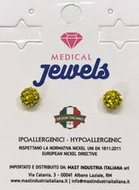 MEDICAL JEWELS ORECCHINI 1 SFERA GIALLA 6MM