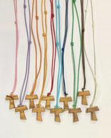 Tau in legno di ulivo, croce di San Francesco d'Assisi mod. M con fili colorati