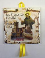 Piastrella in ceramica da parete San Francesco Benedici la Nostra Casa