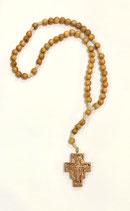 Rosario con croce di San Damiano con grani in legno d'ulivo