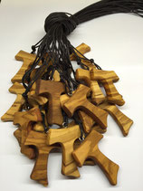 Tau in legno d'ulivo, croce di San Francesco di Assisi Mod. XL (scegliere quantità)