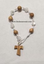 Bracciale rosario con grani in ulivo e colorati e Tau