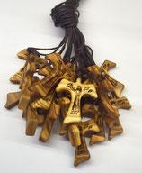 Tau in legno d'ulivo con immagine di S. Francesco che predica agli uccelli