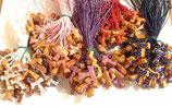 Tau in legno d'olivo con fiori pitturati e cordoncino San Francesco d'Assisi